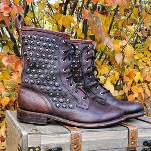 🥀FRYE Jenna Combat Studded Boho Lace Up Boots 9